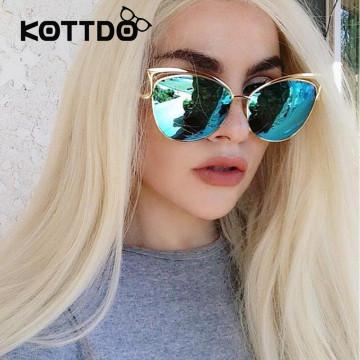 2017 Classic Cat Eye Metal Women Sunglasses Brand Designer Retro Vintage Glasses Sunglasses Women Mirror Rose Gold Oculos de sol32805873570