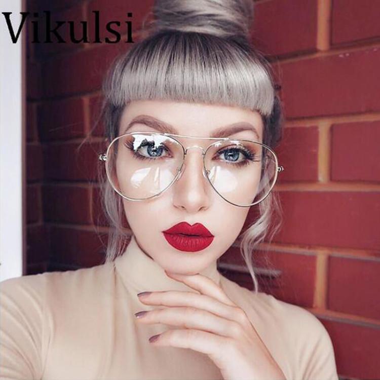 e8f327f42507 2017 New Aviator Glasses Women Classic Eyeglasses Rose Gold Metal Spectacle  Frame Clear Glasses Men Optical Glasses Frame OculosGlasses Frames