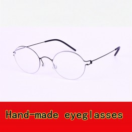 2017 Retro glasses frame men Pure Hand-made eyeglasses frames men brand spectacles for myopia screwless eyewear Oliver glasses