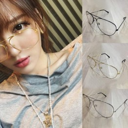 2017 Unisex Big Round Gold Metal Frame Glasses Oversize Clear lens Vintage Retro Chic Eye Elegant Women Men Glasses