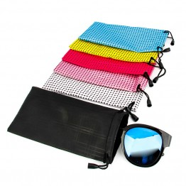 3pcs/set New Popular Lattice Glasses Bag Waterproof Plastic Sunglasses Pouch Soft Eyeglasses bag glasses case 6 colors F0050