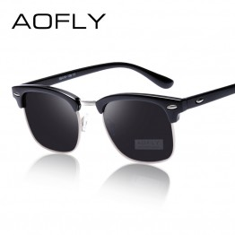 AOFLY CLASSIC Half Metal Sunglasses Men Women Brand Designer Glasses G15 Coating Mirror Sun Glasses Fashion Oculos De Sol PS1580