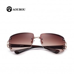 AOUBOU 2017 Vintage Rimless Sunglasses Women Luxury Diamond Design White Square Frame Brand Sun Glasses For Women With Box AB702