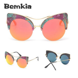 Bemkia Fashion 2017 New Printed Big Round Frame Sun Glasses Summer Cat Eye Sunglasses Women Brand Designer oculos de sol