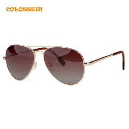 COLOSSEIN Pilot Style Sunglasses Men Women Vintage Oval Lens Classic Brown Driving Adult Glasses Fashion Eyewear