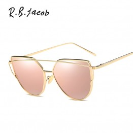 Cat Eye women sunglasses Brand designer UV400 Rose Gold Mirror Cheap Lady Flat lens Cateye Sun Glasses Hot sale Female Aviation