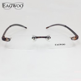 EAGWOO Plastic TR Eyeglasses Rimless Optical Glasses Men Women Plain Spectacles Reading Myopia Vision Glasses Frame Shadow 082