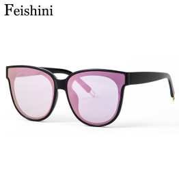 FEISHINI Brand Designers Hot Classic UV400 HD Mirror Sunglasses Women Cat eye 2017 FDA Standard Sunglass Men Transparent Plastic
