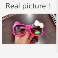 Fashion Kids Sunglasses Children Girls Bow Cartoon Cat Shades Eyeglasses Plastic Frame Glasses Gafas Oculos