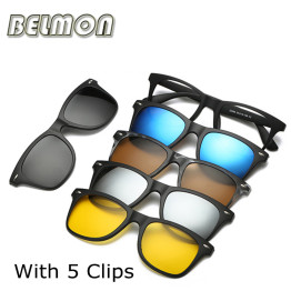 Fashion Spectacle Frame Men Women With 5 Pieces Clip On Sunglasses Polarized Magnetic Glasses Male Driving Myopia Optical RS120