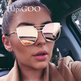 HapiGOO 2017 New Fashion Brand Designer Female Vintage Flat Top Pilot Mirror Sunglasses Women Cat Eye Sun Glasses For Men UV400