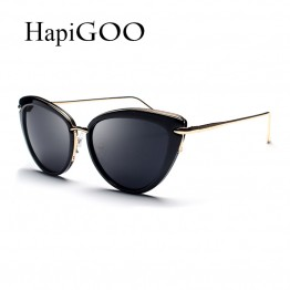 HapiGOO 2017 New Vintage Ladies Cat Eye Sunglasses Women Mirror Sun Glasses For Female Brand Designer Metal Frame Shades UV400