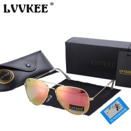 LVVKEE Brand Classic Polarized Sunglasses aviation Men/Women Colorful Reflective 60mm Lens Eyewear Accessories Sun Glasses 3026