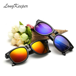LongKeeper 2017 New Fashion Children Sunglasses Kids Boy Girl Sun Glasses Plastic Frame 8 Colors Cute Cool Goggles UV400