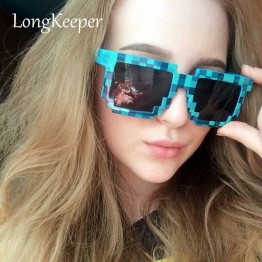 LongKeeper Adult & Kids Glasses 8 bit Pixel Women Men Sunglasses Novelty Mosaic Goggles Mosaic Sun Glasses Boys Girls