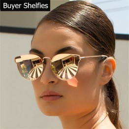 Luxury Brand Design Cat Eye Sunglasses Women Brand Designer Mirror Vintage Retro Sun Glasses For Women Female Lady Sunglass 2017