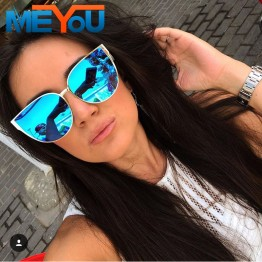 MEYOU 2017 New Oversize Cat Eye Sunglasses Women Fashion Summer Style Big Size Frame Mirror Sunglasses Female Oculos UV400