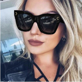 Newest 2017 Fashion Square Sunglasses Women Cat Eye Luxury Brand Big Black Sun Glasses Mirror Shades lunette femme Oculos