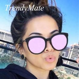 Oversized Cat Eye Sunglasses Women Luxury Pink Lens Sun Glasses Big Black Driving Sunglass UV400 2017 Mirror Shades Eyewear 712M