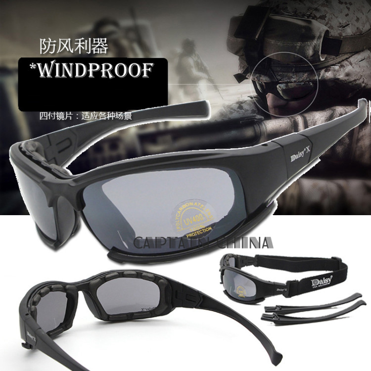f82a3d4484ef6 Polarized Army Goggles Cycling Glasses Military Sunglasses 4 Lens Men  39 s  Outdoor War
