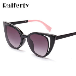 Ralferty 2017 Luxury Brand Designer Cat Eye Sunglasses Women Vintage Cateye Gradient Female Retro Sun Glasses Black oculos gafas