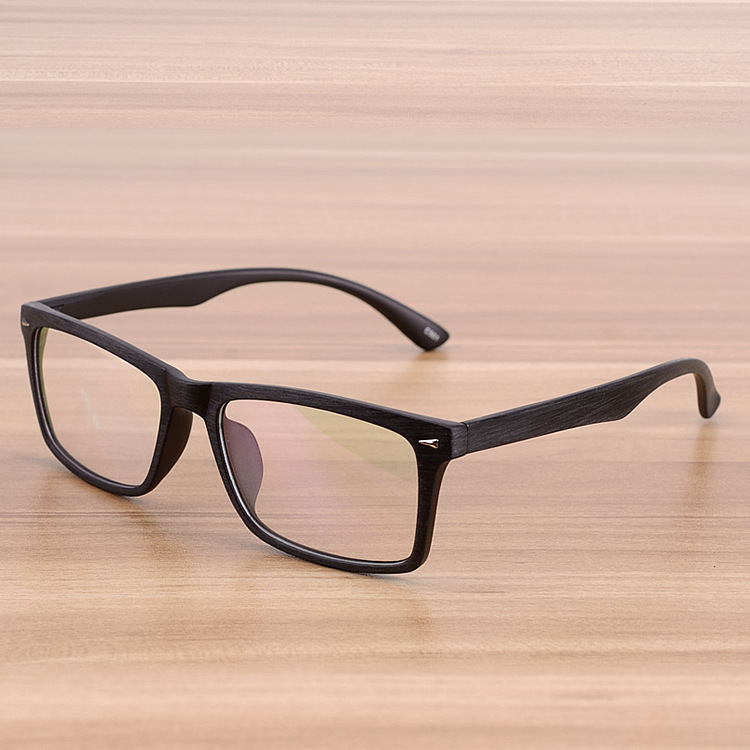Square Eyeglasses Frames Clear Lens Optical Frame Wooden Imitation ...
