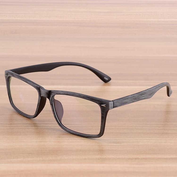 Square Eyeglasses Frames Clear Lens Optical Frame Wooden Imitation ...