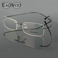 Stainless Steel Eyeglasses Rimless Optical Frame Prescription Spectacle Frameless Glasses For Men Eye glasses 080 Super Light