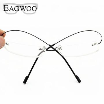 Stainless Steel Eyeglasses Rimless Optical Frame Prescription Spectacle Frameless Glasses For Men Eye glasses 080 Super Light32602501323