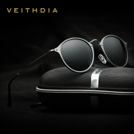 VEITHDIA Brand Designer Fashion Unisex Sun Glasses Polarized Coating Mirror Sunglasses Round Male Eyewear For Men/Women 6358