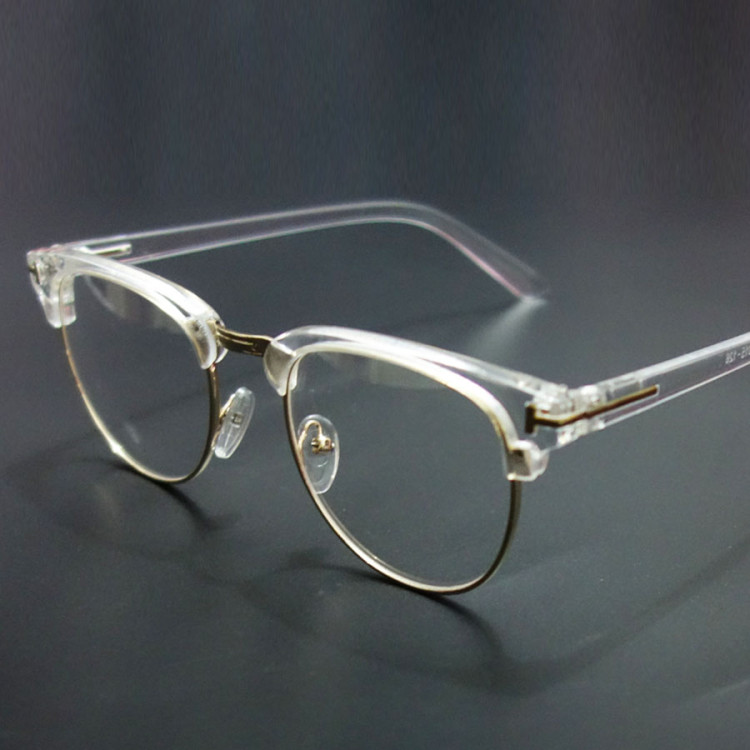 Vintage Metal Semi Rimless Glasses Clear Optical Spectacle ...