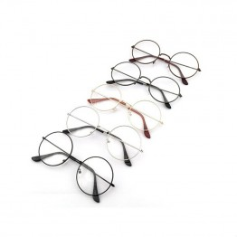 Women Men Retro Round Metal Frame Clear Lens Glasses Nerd Spectacles Eyeglass