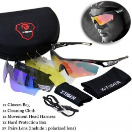 X-Tiger Brand Polarized Cycling Sun Glasses Outdoor Sports Bicycle Bike Sunglasses TR90 Goggles Eyewear 5 Lens Bicycle Accessory