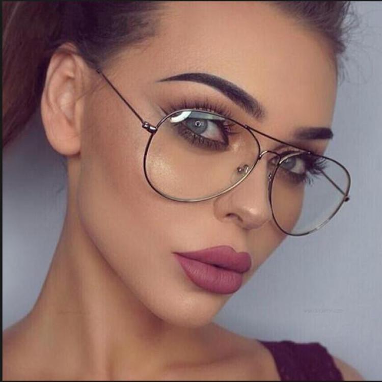 9b79c54fc41 retro gold Clear aviator Glasses lens Women big optical Frame eye Glasses  Men Myopia glasses with transparent glasses oculosGlasses Frames