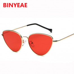 small red cat eye sunglasses women yellow black tinted Color Lens vintage eyewear metal sun glasses 2017 luxe female sunglasses